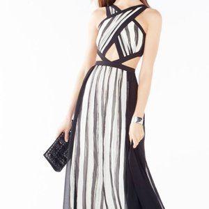 BCBGMaxAzria Black and White Cut Out Gown